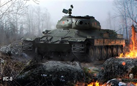 Preview wallpaper World of Tanks, trees, fire, game