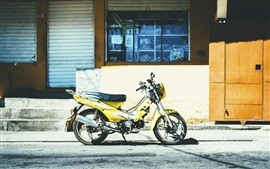 Preview wallpaper Yellow motorcycle, city street