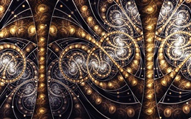 Abstract fractal patterns, gold color light