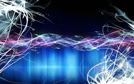 Linhas abstratas, luz, fundo azul