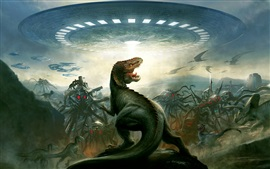 Preview wallpaper Aliens, dinosaurs, art picture