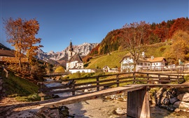 Preview wallpaper Alps, wooden bridge, river, mountains, church, houses, Germany, Bayern