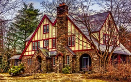 Preview wallpaper American Tudor, mansion, house, trees, HDR style