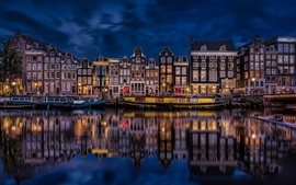 Preview wallpaper Amsterdam, Netherlands, beautiful night city, river, houses, buildings, lights