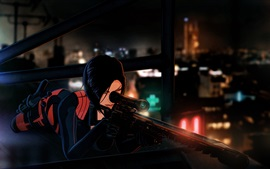 Preview wallpaper Anime girl, roof, Paris, sniper rifle, night