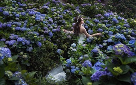 Asian girl, bride, wedding dress, blue hydrangeas
