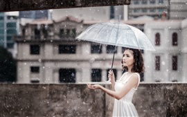 Preview wallpaper Asian girl, heavy rain, umbrella