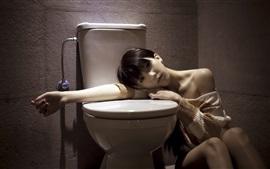 壁紙のプレビュー バスルームにいるアジアの女の子