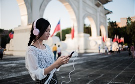 Preview wallpaper Asian girl listening music, headphones