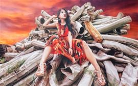 Menina asiática, pose, pano, fotografia de arte