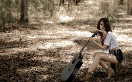 Asian girl, pose, guitar, forest