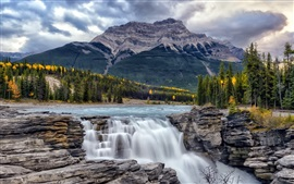 Preview wallpaper Athabasca Falls, Alberta, Canada, trees, mountains