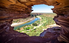 Preview wallpaper Australia, National Park Kalbarri, rocks, river, bushes