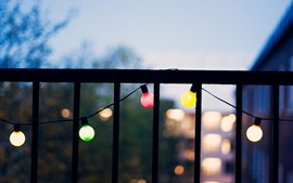 Preview wallpaper Balcony, colorful light, dusk