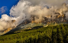Banff National Park, mountains, trees, rocks, clouds, Canada