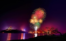 Preview wallpaper Beautiful fireworks, night, river, city, lights