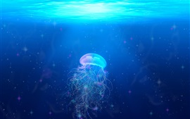 Preview wallpaper Beautiful jellyfish, underwater, blue