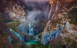 Preview wallpaper Beautiful nature, waterfalls, mountains, bridge, trees, fog