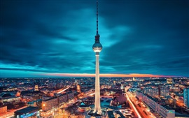 Berlin, Germany, city, tower, lights, night