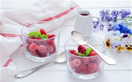 Preview wallpaper Berries, raspberry, flowers, fruit dessert