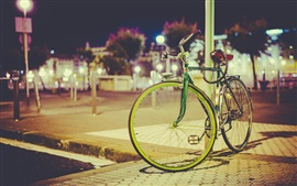Preview wallpaper Bike, lamp post, city night, lights