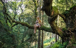 Preview wallpaper Blonde girl, forest, tree, moss