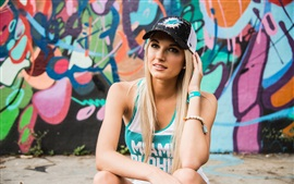 Preview wallpaper Blonde girl, hat, sport dress