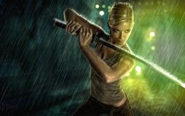 Blonde girl use sword in rain