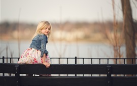 Preview wallpaper Blonde little girl look back, child, fence