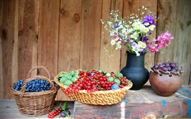 Preview wallpaper Blueberries, red berries, grapes, flowers, still life