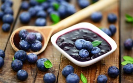 Preview wallpaper Blueberry jam, fresh blueberries, spoon