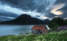 Preview wallpaper Boathouse, Northern-Norway, mountains, lake, clouds, dusk