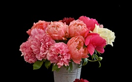 Preview wallpaper Bouquet flowers, pink peonies, bucket, black background