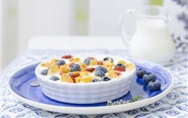 Desayuno, arándanos, bayas, leche, cereales, comida