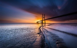 Preview wallpaper Bridge, sea, coast, sunset, Lisbon, Portugal