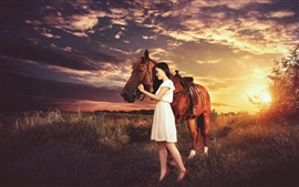Brown horse and Asian girl, sunset, grass, clouds
