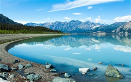 Canada, beautiful lake, clear water, mountains, clouds, blue sky