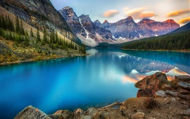 Preview wallpaper Canada, lake, mountains, forest, beautiful nature landscape
