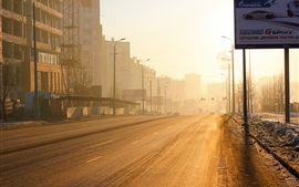 Preview wallpaper Chelyabinsk, Russia, city, morning, road, glare