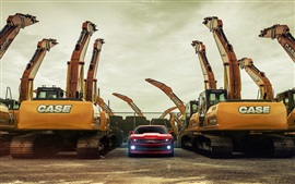Chevy Camaro red supercar and excavators