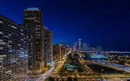 Preview wallpaper Chicago, city night, Harbor Square, skyscrapers, lights