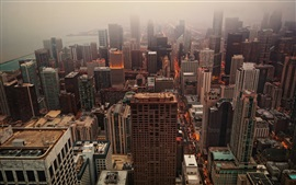 Preview wallpaper Chicago, skyscrapers, fog, morning, USA