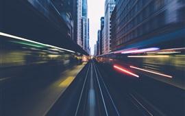 Chicago, trem, ferrovia, velocidade, cidade, EUA