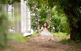 Preview wallpaper Childhood, cute child girl play swing