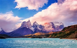 Chile, beautiful nature landscape, sea, mountains, clouds