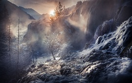 China, beautiful waterfalls, forest, trees, stream, mountains, fog, sunrise