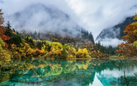 Preview wallpaper China nature landscape, autumn, mountains, trees, lake, fog