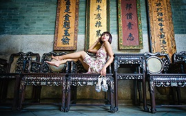 Preview wallpaper Chinese girl, pose, chairs, retro style