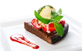 Chocolate cake, piece, strawberry, mint, dessert