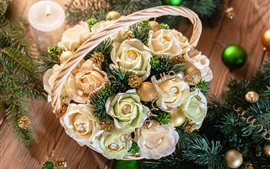 Preview wallpaper Christmas decoration, roses, candy, twigs, candle
